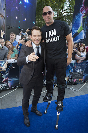 Vin Diesel + Chris Pratt at Guardians of the Galaxy Europen premiere at the Empire Leicester Square (James Gillham/StingMedia.co.uk)