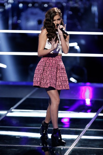 """THE VOICE --  """"Battle Rounds"""" Episode 709 -- Pictured: Bryana Salaz -- (Photo by: Tyler Golden/NBC)"""