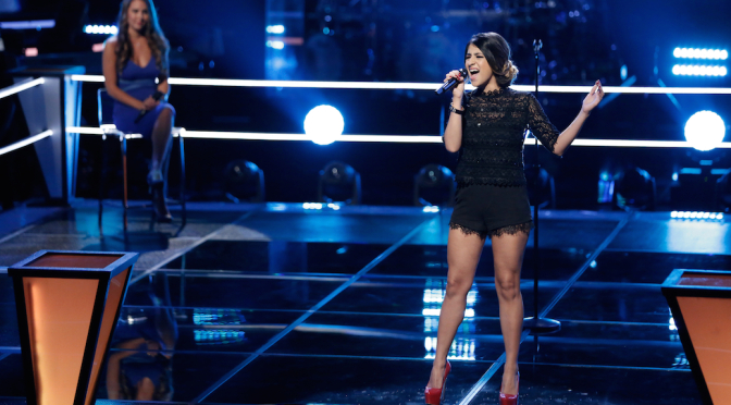 "THE VOICE -- ""Knockout Rounds"" Episode 711 -- Pictured: (l-r) Alessandra Castronovo, Mia Pfirrman -- (Photo by: Tyler Golden/NBC)"