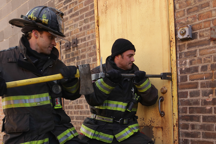 "CHICAGO FIRE -- ""Let Him Die"" Episode 311 -- Pictured: (l-r) Jesse Spencer as Matthew Casey, Taylor Kinney as Kelly Severide -- (Photo by: Elizabeth Morris/NBC)"