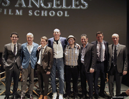 Pictured (L-R)  Damien Chazelle, Anthony McCarten, Graham Moore, E. Max Frye, Jeff Goldsmith,  Alex Dinelaris Jr., Jason Hall, Dan Gilroy.