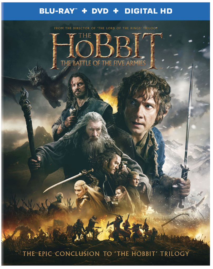 """The adventures of Bilbo Baggins come to an epic conclusion in """"The Hobbit: The Battle of the Five Armies,"""" a production of New Line Cinema and Metro-Goldwyn-Mayer Pictures (MGM), arriving onto Blu-ray 3D Combo Pack, Blu-ray Combo Pack, DVD and Digital HD on March 24 from Warner Bros. Home Entertainment. From Academy Award®-winning* filmmaker Peter Jackson comes """"The Hobbit: The Battle of the Five Armies,"""" the third in a trilogy of films adapting the enduringly popular masterpiece The Hobbit, by J.R.R. Tolkien. In """"The Hobbit: The Battle of the Five Armies,"""" Ian McKellen returns as Gandalf the Grey, with Martin Freeman in the central role of Bilbo Baggins, and Richard Armitage as Thorin Oakenshield. The international ensemble cast is led by Evangeline Lilly, Luke Evans, Lee Pace, Benedict Cumberbatch, Billy Connolly, James Nesbitt, Ken Stott, Aidan Turner, Dean O'Gorman, Graham McTavish, Stephen Fry and Ryan Cage. The film also stars Cate Blanchett, Ian Holm, Christopher Lee, Hugo Weaving, Orlando Bloom, Mikael Persbrandt, Sylvester McCoy, Peter Hambleton, John Callen, Mark Hadlow, Jed Brophy, William Kircher, Stephen Hunter, Adam Brown, John Bell, Manu Bennett and John Tui. The screenplay for """"The Hobbit: The Battle of the Five Armies"""" is by Fran Walsh & Philippa Boyens & Peter Jackson & Guillermo del Toro, based on the novel by J.R.R. Tolkien. Jackson also produced the film, together with Carolynne Cunningham, Zane Weiner and Fran Walsh. The executive producers are Alan Horn, Toby Emmerich, Ken Kamins and Carolyn Blackwood, with Philippa Boyens and Eileen Moran serving as co-producers. """"The Hobbit"""" Trilogy tells a continuous story set in Middle-earth 60 years before """"The Lord of the Rings,"""" which Academy Award®-winning filmmaker Peter Jackson and his team brought to the big screen in the blockbuster trilogy that culminated with the Oscar®-winning """"The Lord of the Rings: The Return of the King."""" """"The Hobbit: The Battle of the Five Armies"""" will be available on Blu-ra"""
