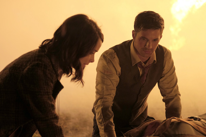 "TIMELESS -- ""Pilot"" -- Pictured: (l-r) Abigail Spencer as Lucy Preston, Matt Lanter as Wyatt Logan -- (Photo by: Joe Lederer/NBC)"